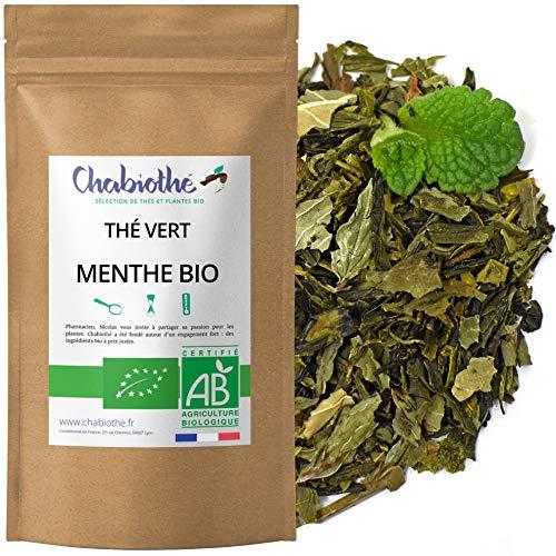 Chabiothé - Thé vert à la Menthe BIO 200g - menthe poivrée origine FRANCE - sachet biodégradable
