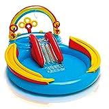 DQM Rainbow Ring Inflatable Play Center, Área de Juegos para niños en la terraza, 117'X 76' X 53', para Mayores de 2 años, Deje Que los niños se refresquen Durante un Verano