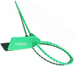 250mm Pull-Tite Security Seal Plastic Seals Signage Numbered(Package of 100) (Green)
