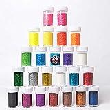 Seatek - Juego de Polvos de Purpurina Multicolor, en 24 Colores, para Manualidades, en Lata con Tapa para esparcir, Ideal para Hacer Tarjetas, Decorar, etc.
