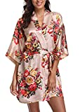 Women's Floral Satin Short Robe Bathrobe Bridesmaid Gift Bridal Party Wedding Favor (Adult Plus (US 16-24), Blush)
