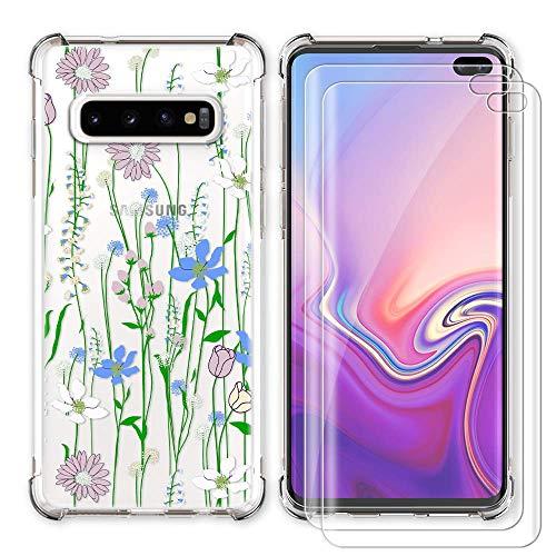 AIPNIS Funda Compatible con Samsung Galaxy S10 Plus,con 2 Protectores de Pantalla de Cristal Templado,TPU Suave Protectora Reforzado Cojín de Esquina Parachoques