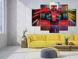 IMXBTQA Cuadro sobre Lienzo 5 Piezas Impresión En Lienzo Ancho: 150Cm, Altura: 100Cm Listo para Colgar-Coche Deportivo Rojo De Fórmula 1 En Un Marco
