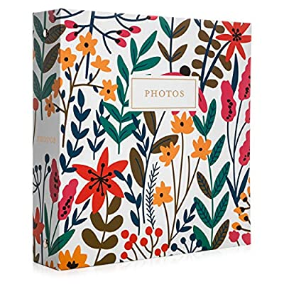 Jot & Mark Photo Album Set - 200 4x6 Photos, Clear Pocket Sleeves, 6 Tab Dividers, 3-Ring Binder 8.5x9.5 (Wildflower Bouquet)