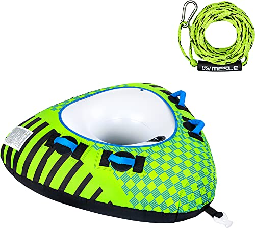 MESLE Tube Set Delta 56'' mit Leine, 1 Person, Towable Fun-Tube, aufblasbarer Schlepp-Reifen zum Ziehen, für Kinder & Erwachsene, Inflatable Wasser-Ski Schlepp-Ring, für Boot & Jet-Ski, Farbe:grün
