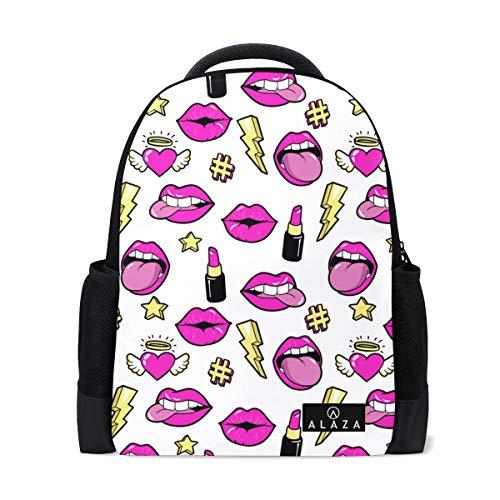 My Daily Lip and Lipstick Retro Style Zaino 14' Laptop Daypack Bookbag per Viaggi College Scuola
