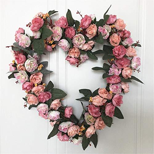 HUIJUAN Flores artificiales en forma de corazón para puerta frontal de exterior