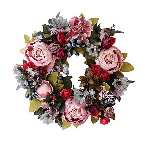 Supreme glory Künstliche Blumen Deko Kranz Wandkranz Türkranz Handgefertigt Kranz Blumenkranz Künstliche Dekorative Landschaftsbau für Frühling Sommer Ostern 35CM