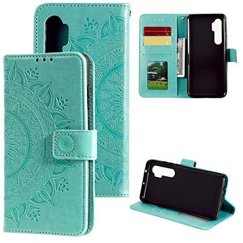 HTDELEC Xiaomi Mi Note 10 Lite Hülle,Ultra Slim Flip Hülle Grün Etui mit Kartensteckplatz & Magnetverschluss Leder Wallet Klapphülle Book Hülle Bumper Tasche für Xiaomi Mi Note 10 Lite(T-Grün)