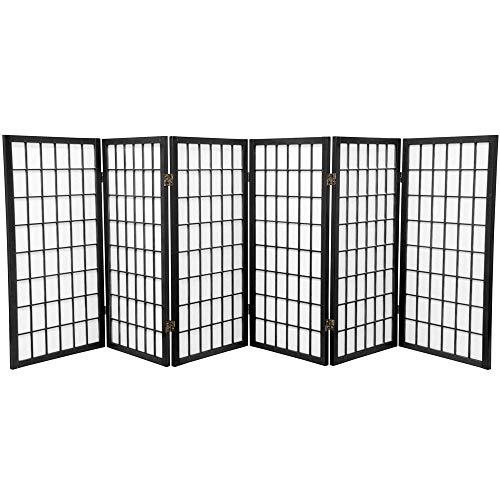 Oriental Furniture 3 ft. Tall Window Pane Shoji Screen - Black - 6 Panels