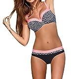 OverDose Damen Padded Push-Up-BH Dreieck Bedruckte Schlinge Bikini Set Badeanzug Badeanzug Bademode...
