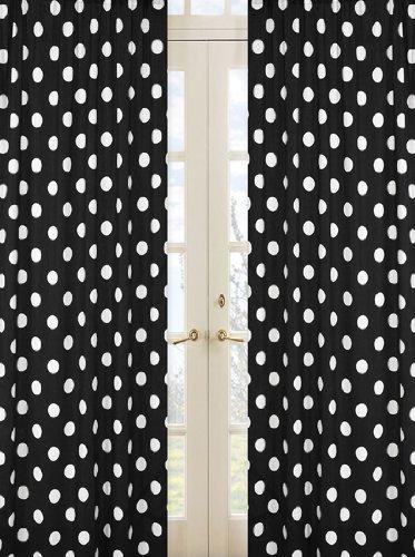 "ArtOFabric Decorative Cotton Polka Dot Curtain Panel (58""x84"") (White Polka on Black)"