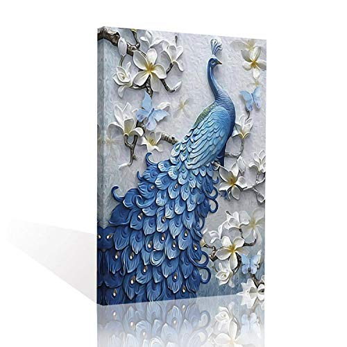 Sadie Mae Blue Peacock on the Tree Print Abstract Canvas Wall Art Home Decor Watercolor Animal Paintings Artwork For Hallway Living Room Bedroom Office Decoration Framed Ready To Hang 12x16in