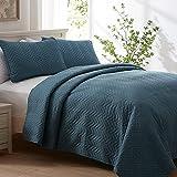 SEMECH Oversized King Quilt, King Size Quilt Sets, Blue King Quilt Set 3pcs Including 1 Quilt 2 Shams 118''x106'' (King/ CK, Storm Blue)