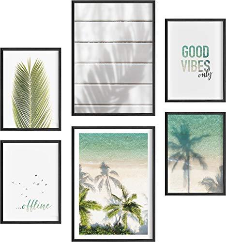 Mia Félice Moderne Wand-Bilder für das Wohnzimmer, Schlaf-Zimmer, Flur Tumblr Wand-Deko modern - Wand-Dekoration Wohnung » at The Beach « Strand Palmen Poster-Set Wand-Bild - ohne Bilderrahmen