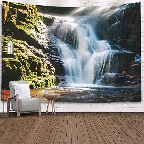 Tapiz decorativo para colgar en la pared, tapiz fresco de gran tamaño, cascada cerca de las montañas gigantes de Polonia, accesorio de exposición prolongada para sala de estar, dormitorio, tapiz popul