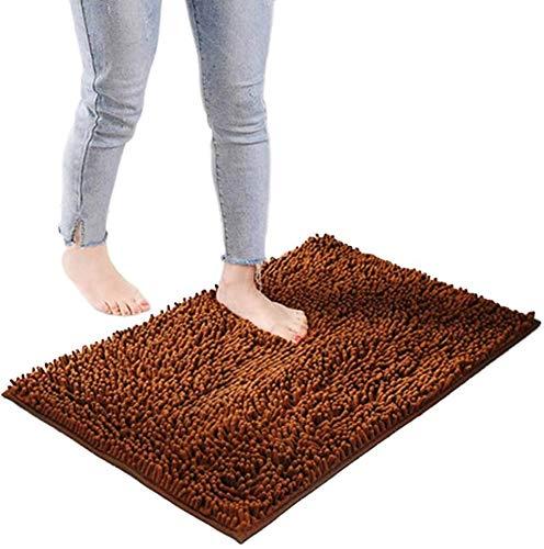 YIQI Alfombra de baño de Felpa de Microfibra de Chenilla, Suave y acogedora, Agua súper Absorbente, Antideslizante, Gruesa para Dormitorio de baño (60x40 cm, marrón)