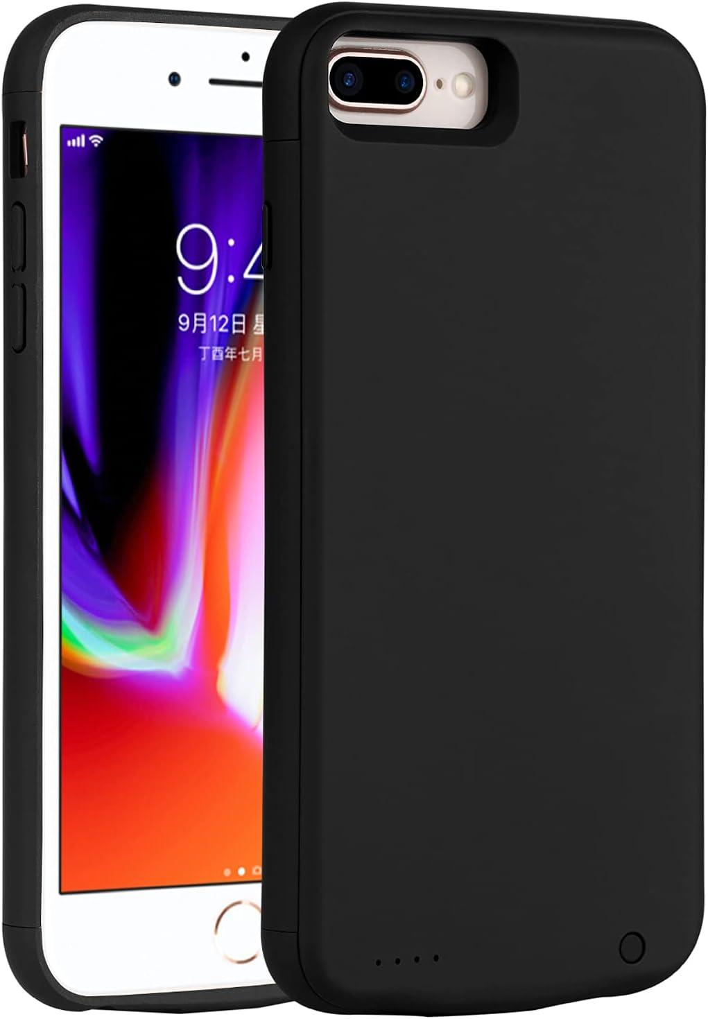 Battery Case for iPhone 8 Plus 7 Plus 6/6s Plus, 7000mAh Slim Charging Case Extend 160% Battery Life, Portable Charger Case Compatible iPhone 8P/7P/6P/6SP(5.5 inch Black)