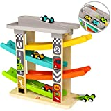 TOP BRIGHT Toddler Toys for 1 2 Year Old Boy Gifts Car Track,Car Ramp Racer Toys Age 1 2 with 4 Mini...