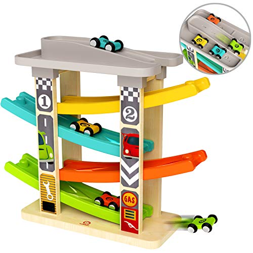 TOP BRIGHT Toddler Toys for 1 2 Year Old Boy Gifts Car Track,Car Ramp Racer Toys Age 1 2 with 4 Mini Cars