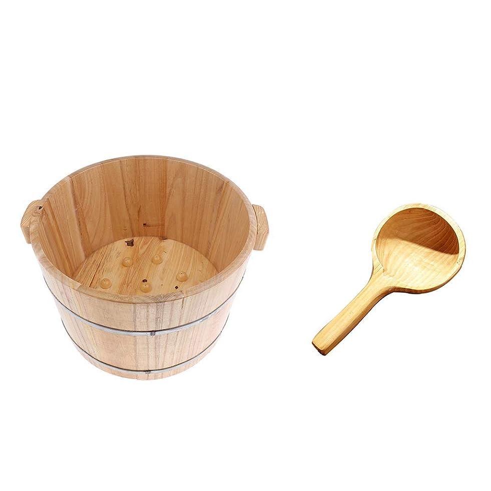 キリンアプト再開dailymall フットスパバスベイスンバスタブフィート浸漬洗浄バケツバレルW/ウッドウォータースクープ