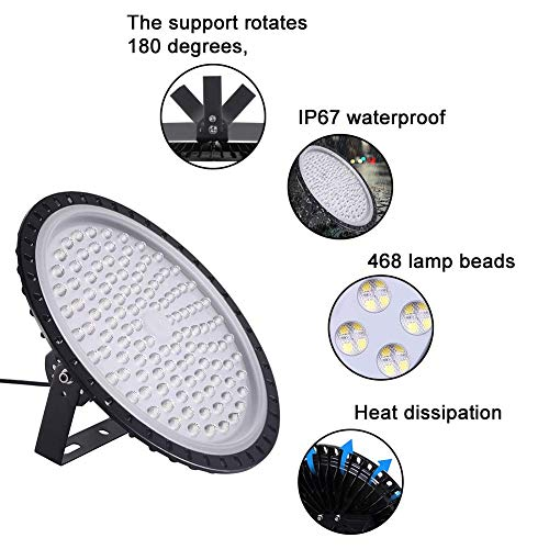 10 Pack 500W UFO LED High Bay Lights, 50000LM Daylight White 6000K-6500K Ultra Thin LED Warehouse Lighting, IP65 Waterproof Commercial Bay Lighting Shop Area Garage Gym Light Getseason (US Shipment) 3