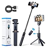 Apexel Selfie Stick Bluetooth Monopod with Foldable Tripod Stand and Remote Control Extendable