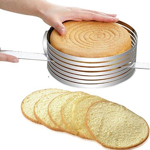 lzndeal - Molde para cortar tartas de trinchar, ajustable, en acero inoxidable (plateado, 15–20cm)