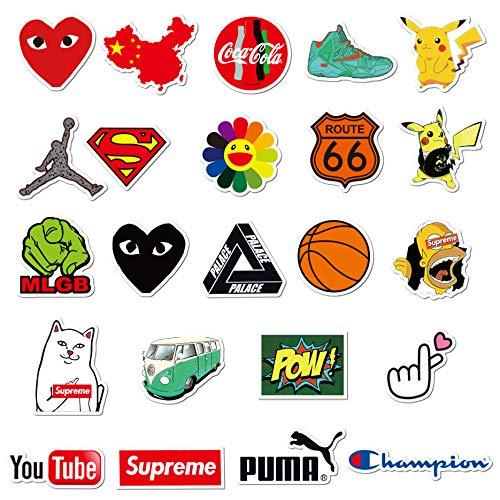 Coole Aufkleber Packung 100 Stück, Skateboard-Aufkleber für Jugendliche, zufällige Stickerbombe, Marken-Aufkleber für Skateboard, Fahrrad, Laptop, Wasserflaschen (100 Stück)