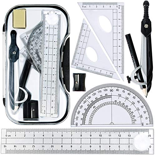 Maths Set, Geometry Compasses Set 8pcs School Protractor Rulers Set Squares for Maths Learning Home Schooling in Carry Case