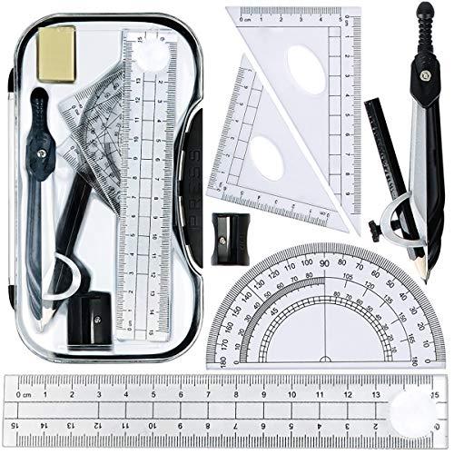 Maths Set, Geometry Compasses Set 8pcs School Protractor Rulers Set Squares...