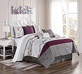 KingLinen 7 Piece Alesta Purple/Gray Comforter Set Queen
