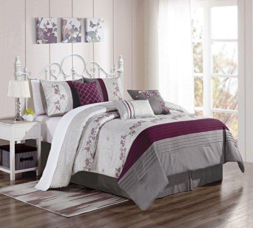 7 Piece Alesta Purple/Gray Comforter Set King