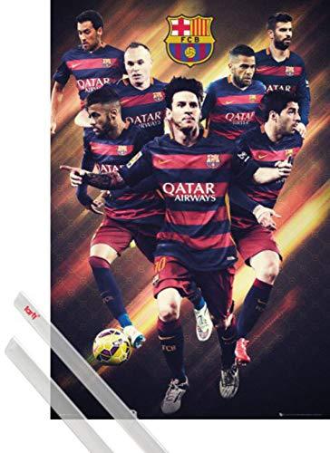 1art1 Fútbol Póster (91x61 cm) Barcelona, Players 2015/16 Y 1 Lote De...