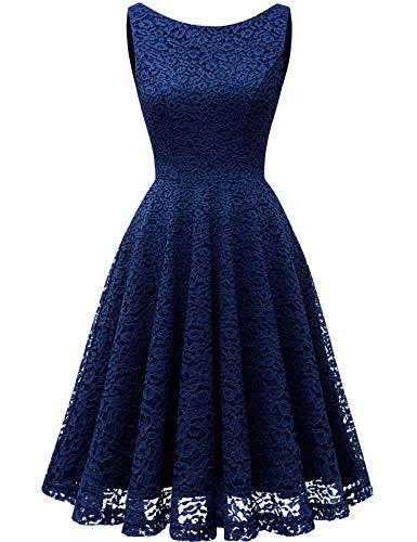 Bbonlinedress Abendkleider elegant für Hochzeit Kleid Violet Damen Damen Knielang cocktailkleid Damen Abendkleider lang Spitzenkleid Damen Rockabilly Kleid Navy XL