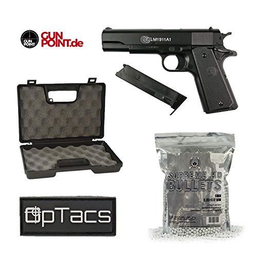 OpTacs Softair HPA Colt M1911 A1 + Pistolenkoffer + Marken-BBS + Patch