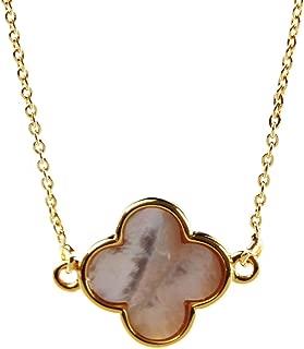 White Shell Pendant Necklace Clover Pendant Gemstone Necklace for Women (White Shell Clover Pendant)