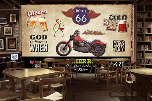 Nostalgische Motorrad Bier Tapete Wandbild Bar Cafe Restaurant Ktv Wanddekoration Malerei300*210Cm