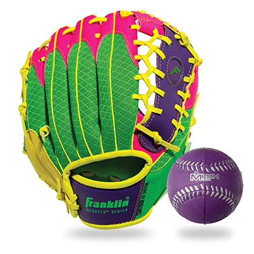 Franklin Sports Teeball Glove - Left and Right Handed Youth Fielding Glove - Meshtek Series - Synthetic Leather Baseball Glove - Ready To Play Glove - 9.5 Inch Right Hand Throw with Ball - Purple/Pink/Yellow
