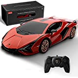 BEZGAR X RASTAR Licensed RC Series, 1:24 Scale Remote Control Car Lamborghini Sián FKP 37 Electric Sport Racing Hobby Toy Car Model Vehicle for Boys and Girls Teens and Adults Gift (Red)