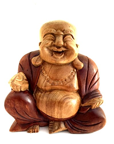 Buddha Statue Solid Wood Carved Happy Buddha Sculpture Laughing Buddha - OMA Federal (TM) Brand