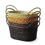 Homeofying - Cubo de almacenamiento hecho a mano con asas para colgar flores y plantas, cesta de frutas, organizador de artículos de tocado, caja de mimbre, Amarillo, Small