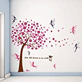 WALPLUS Wall Stickers Pink Tree Mural Decal Paper Art Decoration Tree Fairy Children Nursery Living Room Bedroom Kids Gift Ideas