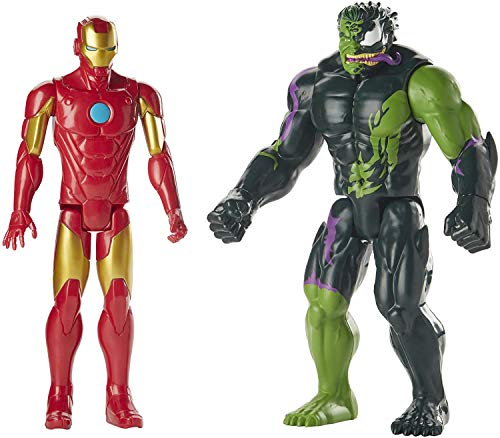 Marvel Titan Hero de 12 pulgadas Spider-Man Max Venom Series 2-Pack Iron Man vs Venomized Hulk