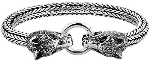 """Kuzzoi """"Buddha"""" Silber-Armband für Herren, handgefertigtes Panzer-Armband aus echtem, massiven 925er Sterling Silber, luxuriöses Herren-Armband mit Wolfs Verschluss, 7mm breit, 64 g schwer 335115-019"""