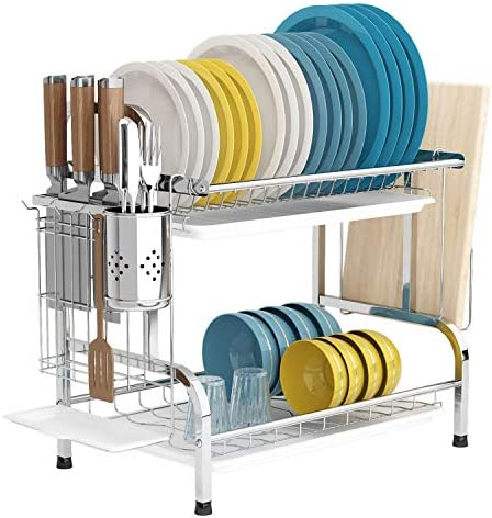 Dish Drying Rack with Drainboard 2 Tier 304 Stainless Steel Dish Rack with Trays Utensil Holder product image