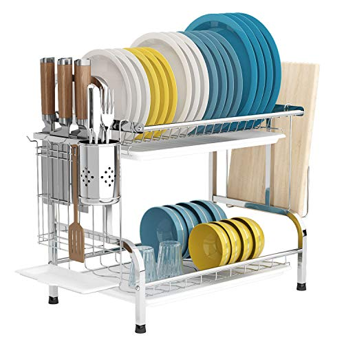 Dish Drying Rack with Drainboard, 2 Tier 304 Stainless Steel Dish Rack with Trays, Utensil Holder, Cutting Board Holder, Rustproof Dish Drainer, Space Saving Drying Rack (Silver)