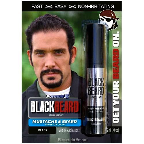 Blackbeard for Men Formula X Instant Mustache, Beard, Eyebrow and Sideburns Color – Fast, Easy, Men's Grooming, Beard Dye Alternative, Black, 1 Pack