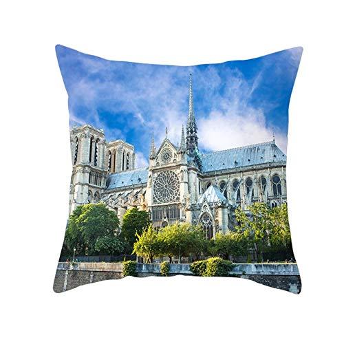 ACYKM Funda cojín Funda Almohada para sofá Impresión Digital Funda Almohada Francesa la Catedral Notre Dame, Funda cojín Estilo Europeo, Funda Almohada para sofá, decoración del hogar, Cojines