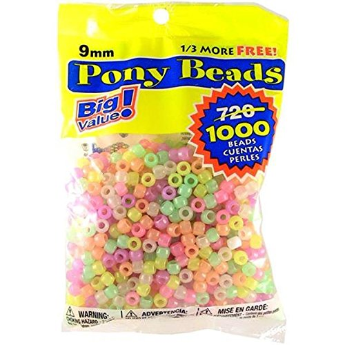 Darice Glow in The Dark Pony Craft Projects for All Ages Jewelry, Ornaments, Key Chains, Hair Round Plastic Center Hole, 9mm Diameter, 1,000 Beads Pe, 1000 Count